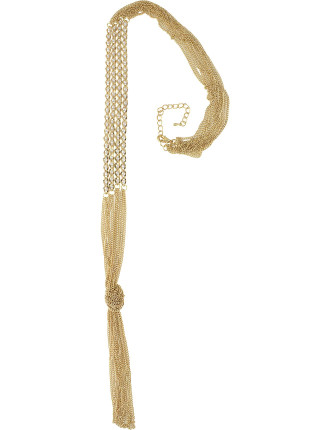 Encased Pearl Chain Tassel Necklace
