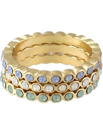 Crystal Band Ring Set