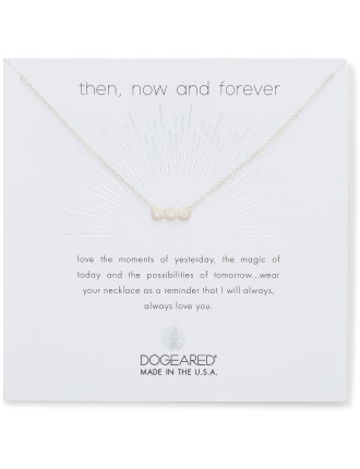Then, now and forever small bar with 3 crystal necklace
