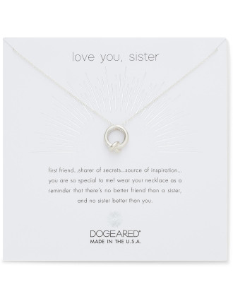 Love you, sister, together knot charm, 16' w/ 2' ext, SS