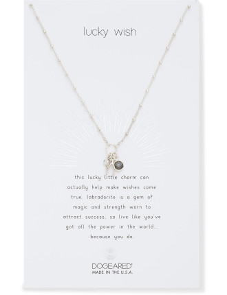Lucky Wish, wishbone and labradorite bezel culster necklace