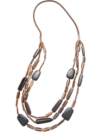 TRIPLE STRAND RESIN BEAD NECKLACE