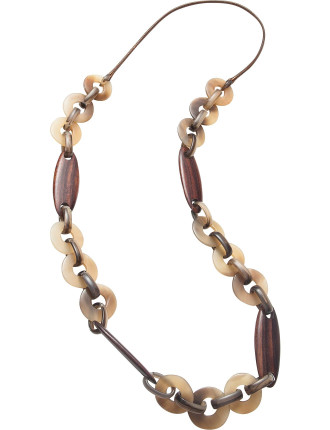 WOOD/RESIN LONG NECKLACE