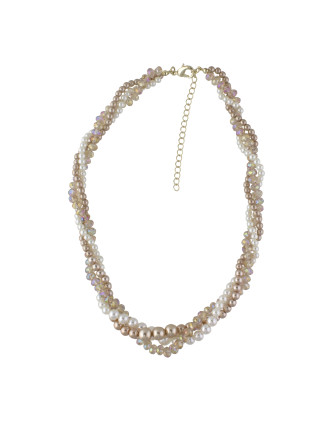 Pearl & Faceted Bead Twisted Collar Necklace