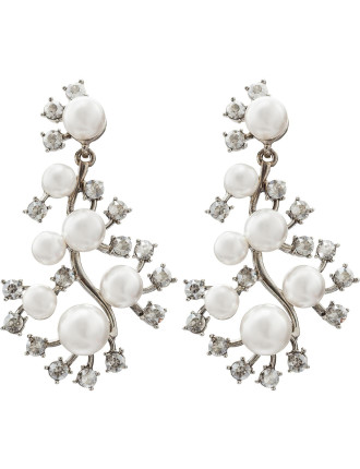 SCATTERED PEARL AND CRYSTAL P EARRING