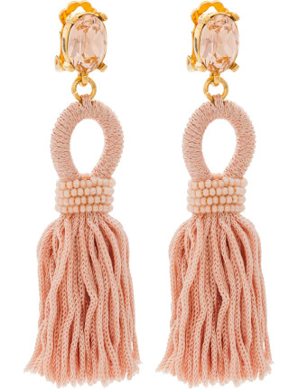 SHORT SILK TASSEL C EARRING