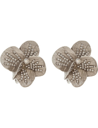 BRUSHED TEXTURE FLOWER PAVE BUTTON C EARRING