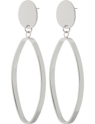 LONG OVAL DROP WITH STUD EARRING