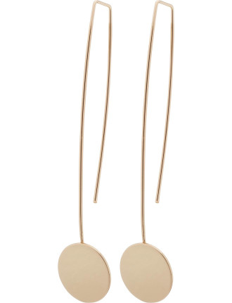 LONG DROP EARRING WITH CIRCLE DISC