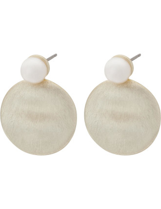 METAL DISC WITH PEARL EARRING