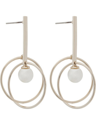 DROP EARRING WITH DOUBLE HOOP AND PEARL