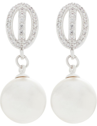 PEARL DROP EARRING WITH CZ SURROUND