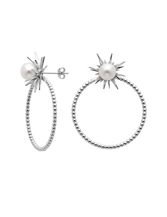 FORBIDDEN STUD AND HOOP EARRINGS WITH PEARL