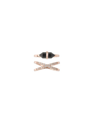 Promise Of Dawn Ring Set-Onyx/Rose Gold