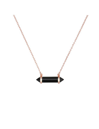 Petite Mineral Necklace-Onyx/Rose Gold