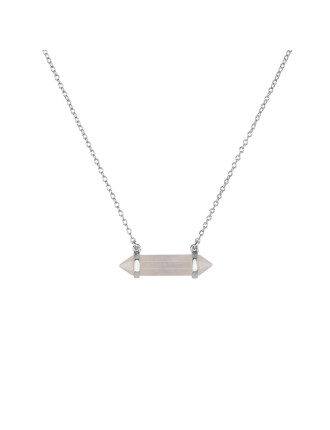 Petite Mineral Necklace-Rose Quartz/Silver