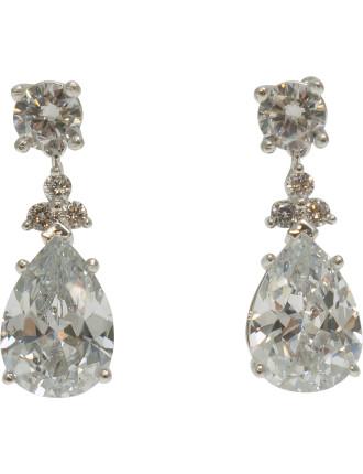 Cz Pear Drop Earring