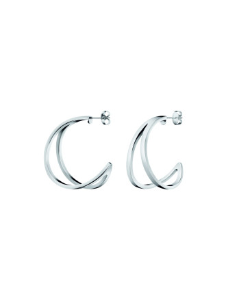 Outline Polished Stainless Steel Creole Earrings