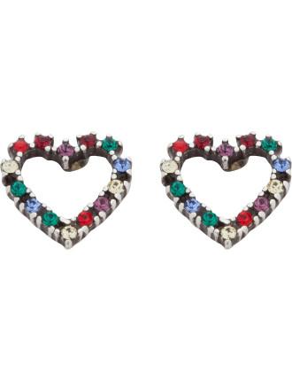 Open Heart Rainbow Studs