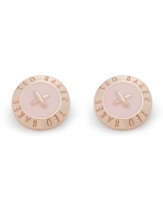 Elody: Enamel Big  Button Earring