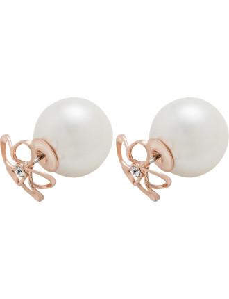 Betrisa: Crystal Mini Blossom Pearl Back Stud Ear