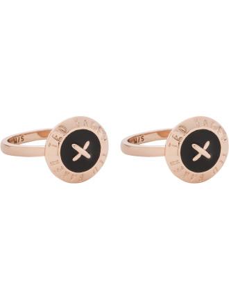 Esterr: Enamel Big Button Ring