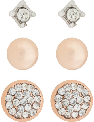 Triple Set Stud Earrings