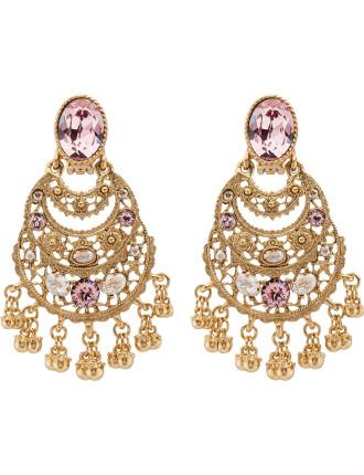 Crystal Filigree C Earrings
