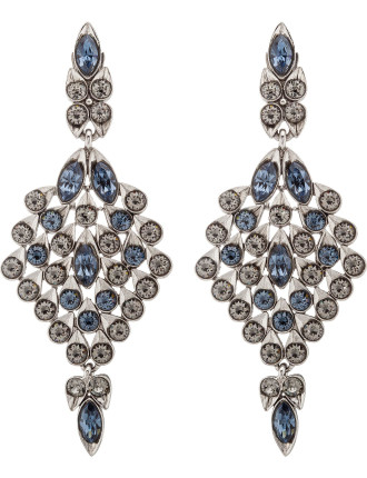 Teardrop Framed Crystal C Earring