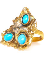 Melt Ring in Gold with Coral Stones $215.00
