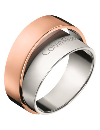 Calvin Klein Unite Adjustable Ring In Rose Gold