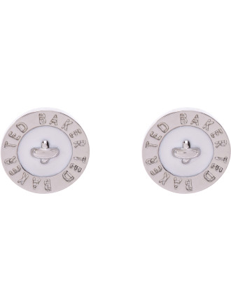 Enamel Logo Button Stud Earring