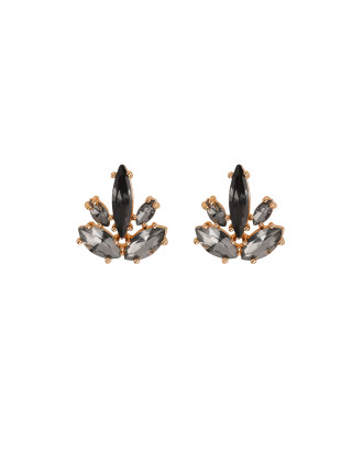 Wild Fox Stud Earrings-Grey Crystal/Shiny Gold