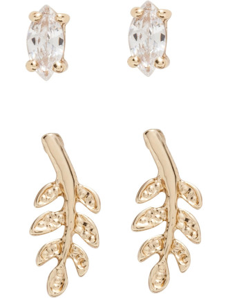 Crystal Leaf Twin Set Earring
