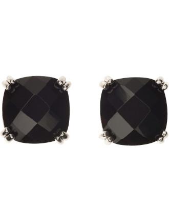 Round Pearl Earring Black Facet Square Rhodium