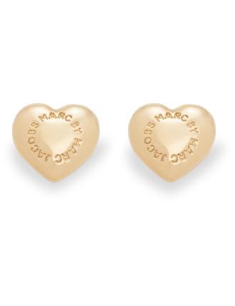Domed Logo Heart Studs