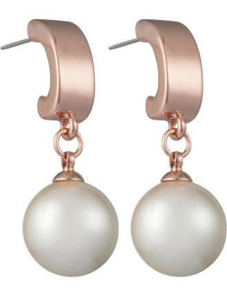 Shiny Metal Half Hoop W Pearl