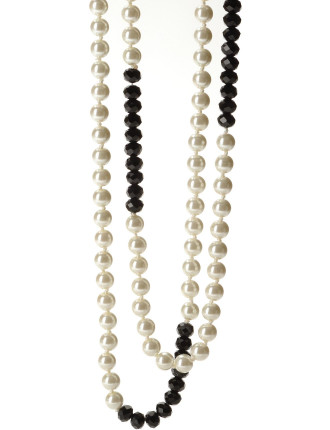 Pearl & Black Faceted Bead Necklet