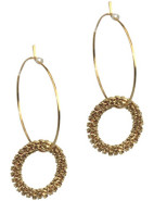 Small Hoop with Brass Ball Earrings $24.95