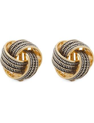 Textured Knot Clip Earrings