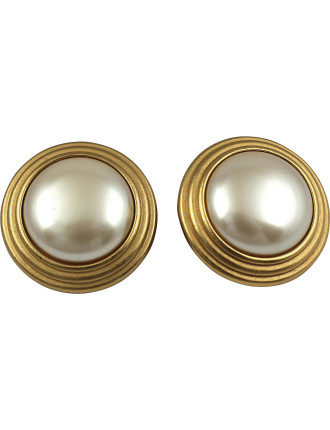 MONET 1980s Faux Pearl Statement Clip Earrings