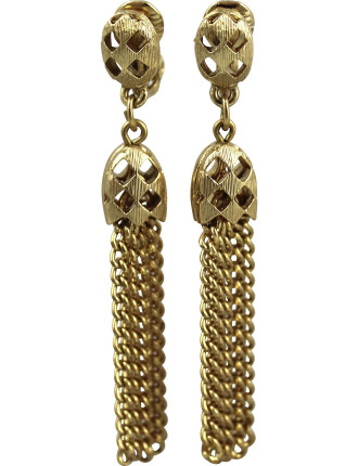 MONET 1970s Open Weave Tassel Clip Earrings