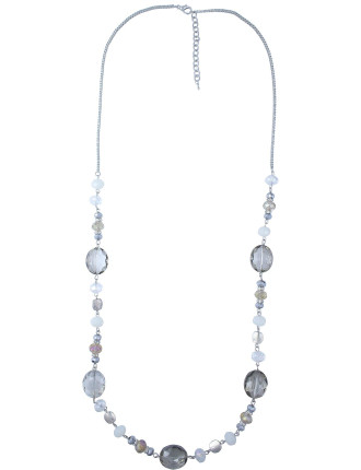 Multi Stone Bead Long Necklace