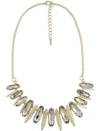 Faceted Oblong Stone Necklace