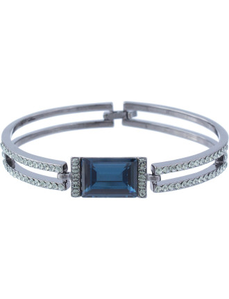 Rectangle Crystal Double Bar Stoneset Bangle