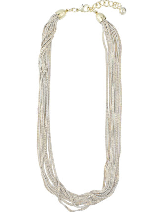 Two Tone Multistrand Short Necklace