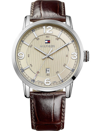 Mens Rnd 3 Hand With Date Brn Leather Strap