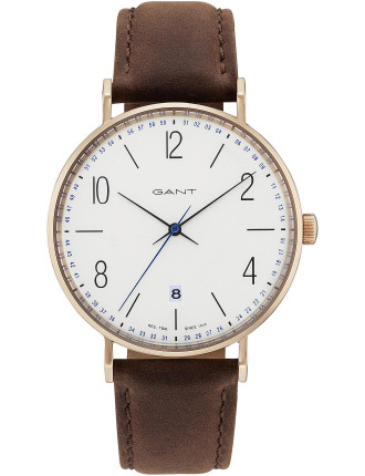 Detroit, Rose Gold, White Dial - Brown Leather