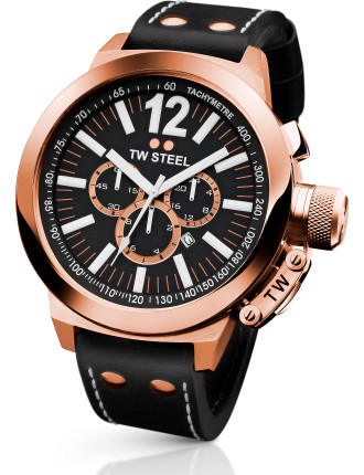 Rose Gold Chronograph, Black Leather Strap 50mm