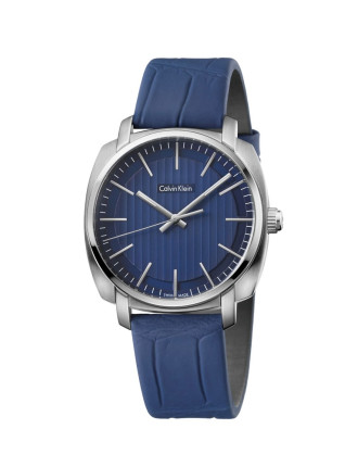 Blue Leather Strap, Stainless Steel Case With Blue Dial